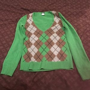 J. Crew Argyle front green sweater xs